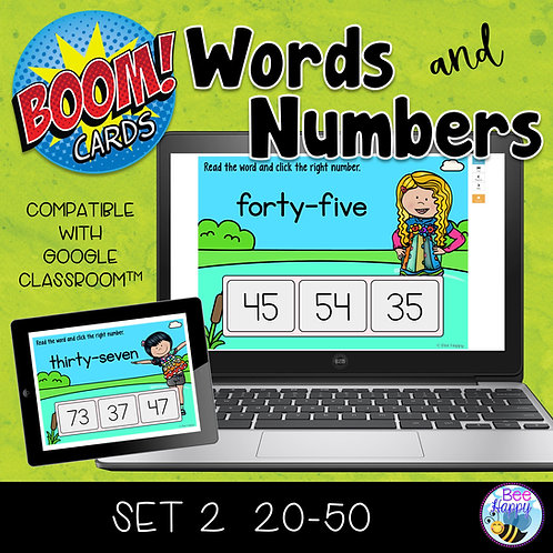Matching Words and Numbers Set 2 Numbers 20-50 Boom Cards