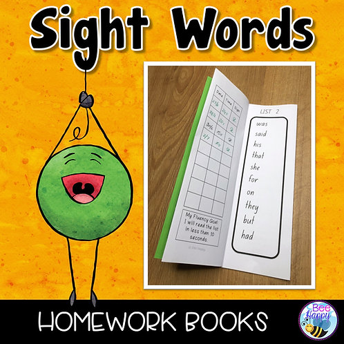 Sight Words Homework Books