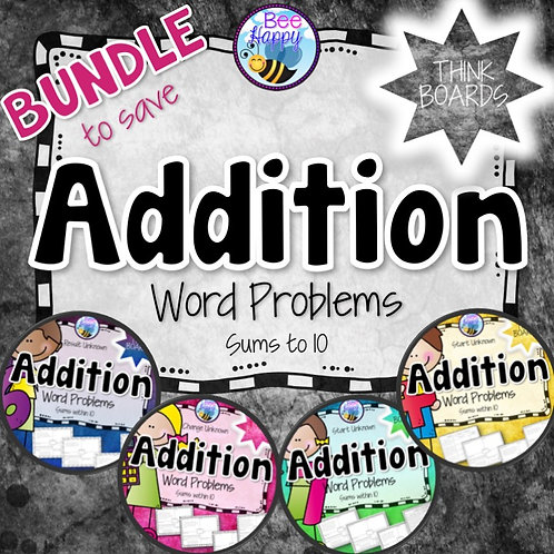 Addition Word Problems Sums to 10 Bundle