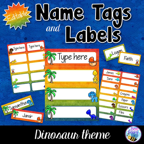 Editable Name Tags and Labels Dinosaurs