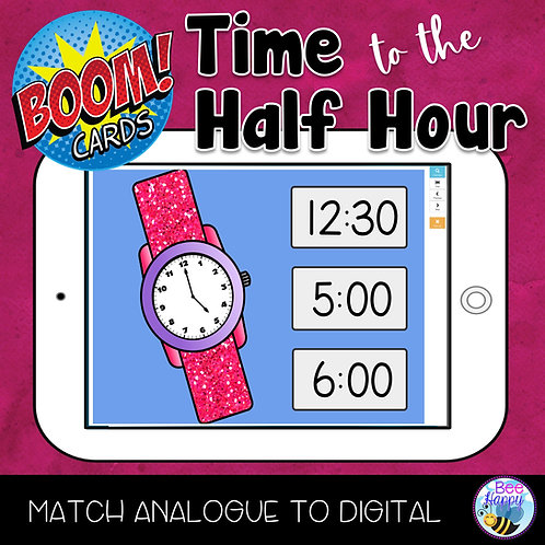 Telling Time to the Half Hour Boom Cards