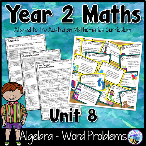 Year 2 Maths Unit 8 Word Problems Worksheets and Task Cards