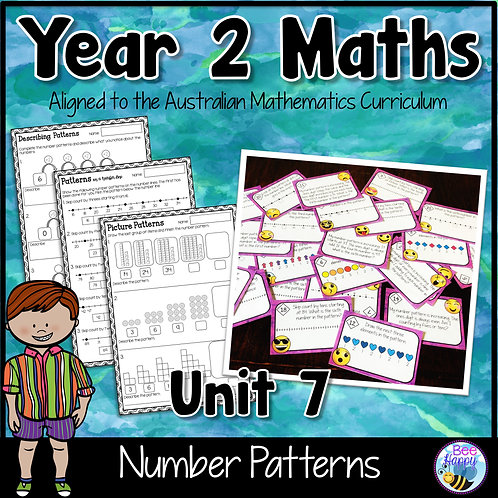 Year 2 Maths Unit 7 Number Patterns Worksheets and Task Cards