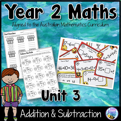 Year 2 Maths Unit 3 Addition & Subtraction Worksheets and Task Cards