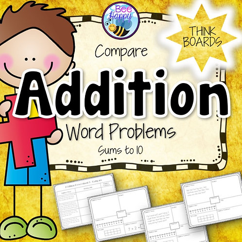 Addition Word Problems Compare Sums to 10