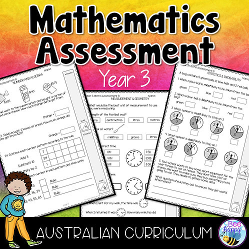 Mathematics Assessment Year 3 Australian Curriculum