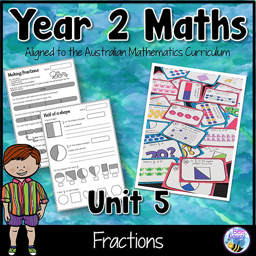 Year 2 Maths Unit 5 Fractions Worksheets and Task Cards