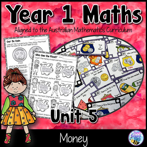 Year 1 Maths Unit 5 Money Worksheets and Task Cards