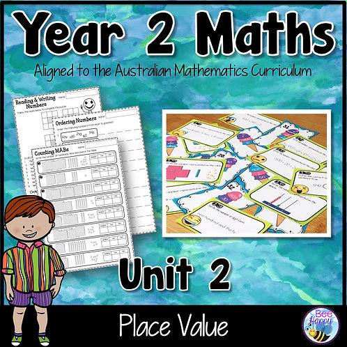 Year 2 Maths Unit 2 Place Value Worksheets and Task Cards