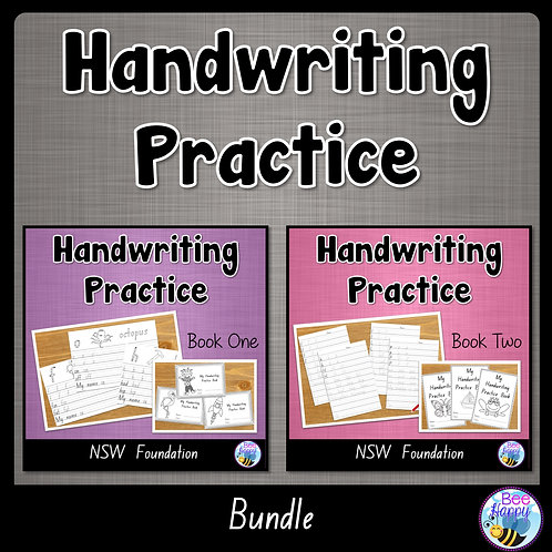 Australian Handwriting Practice Book 1 and 2 NSW Foundation Bundle