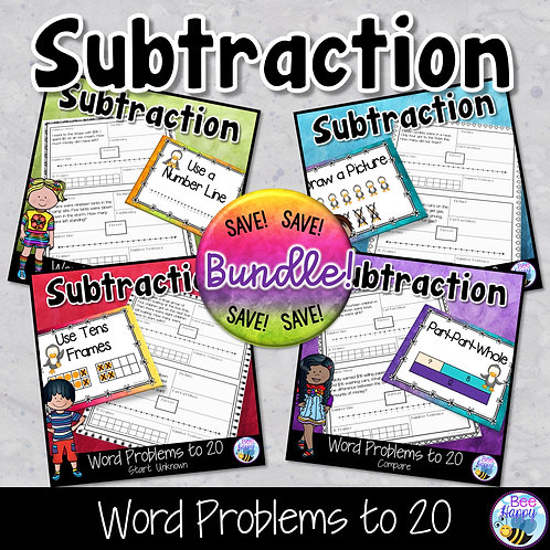 Subtraction Word Problems to 20 Bundle