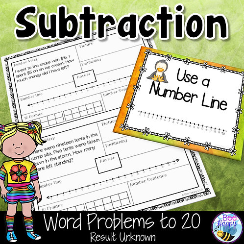 Subtraction Word Problems to 20 Result Unknown