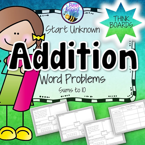 Addition Word Problems Start Unknown Sums to 10