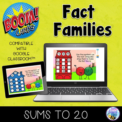 Fact Families Addition & Subtraction to 20 Digital Boom Cards