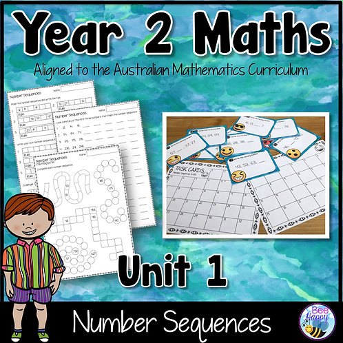 Year 2 Maths Unit 1 Number Sequences Worksheets and Task Cards