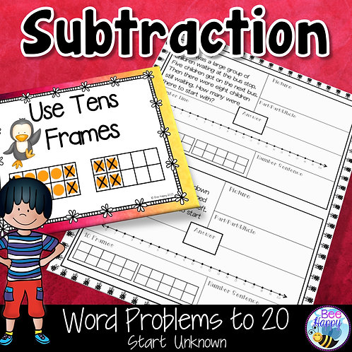 Subtraction Word Problems to 20 Start Unknown