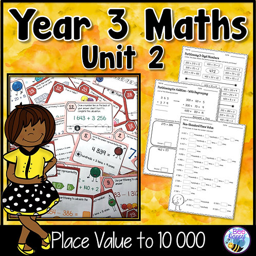 Year 3 Maths Unit 2 Place Value to 10 000 Worksheets and Task Cards