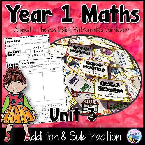 Year 1 Maths Unit 3 Addition and Subtraction Worksheets and Task Cards