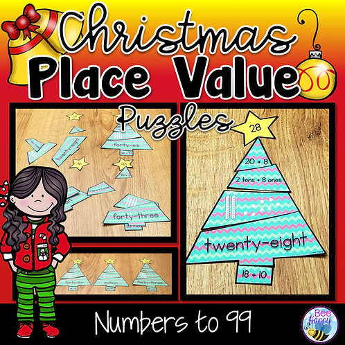 Christmas Place Value Puzzles Numbers to 99