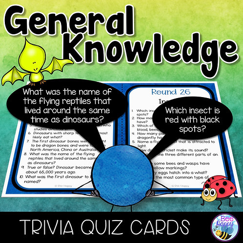 General Knowledge Trivia Quiz Cards