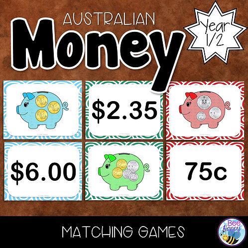 Australian Money Money Matching Games Year 1/2