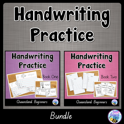 Australian Handwriting Practice QLD Beginners Book 1 and 2 Bundle