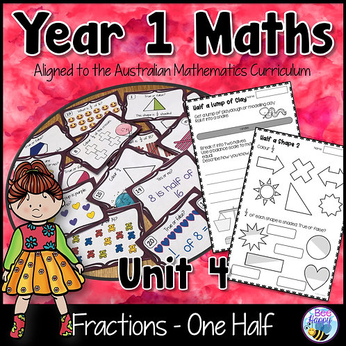 Year 1 Maths Unit 4 Fractions Worksheets and Task Cards