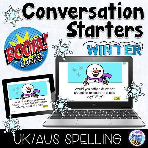 Winter Conversation Starters Boom Cards Aus/UK Spelling