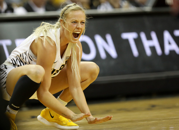 Missouri guard Sophie Cunningham cheers on her team as Missouri scores against Auburn on Sunday, January 27, 2019 at Mizzou Arena in Columbia, Missouri. In addition to her 30 points, Cunningham also had four rebounds.