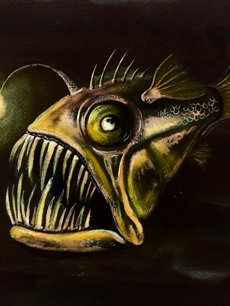 Anglerfish bleach painting with pastel