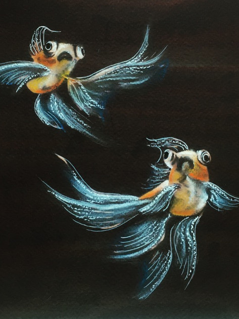 Goldfish  bleach painting with pastel