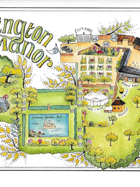 Garsington Map  wedding commission, watercolour and pen