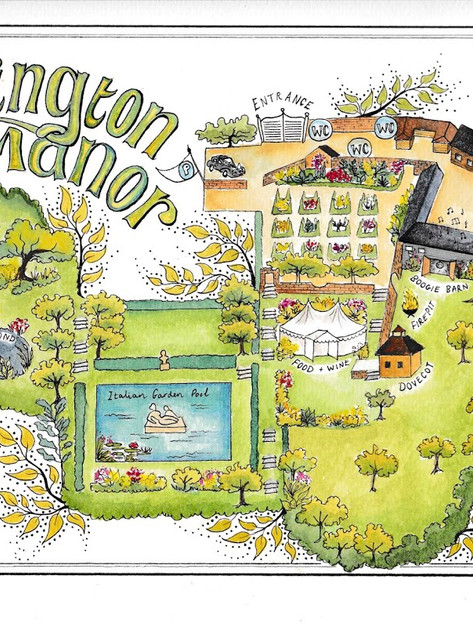 Garsington Map  wedding commission, watercolour and pen