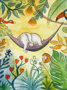 Sleeping elephant  watercolour and pen