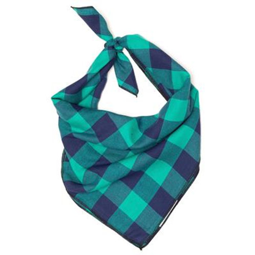 GREEN/NAVY BUFFALO CHECK BANDANA