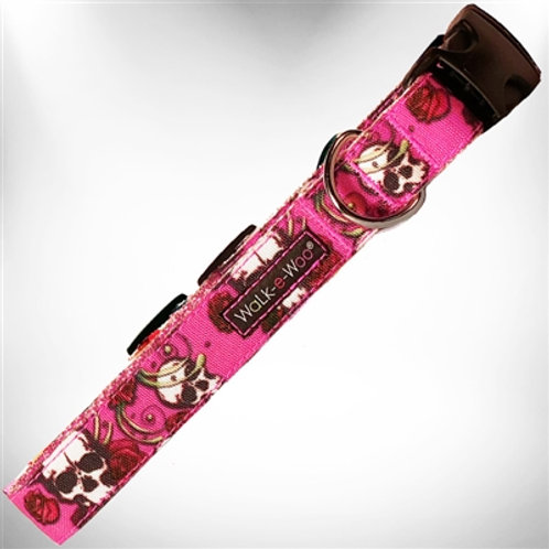 Pink Skulls N' Roses Dog Collars and Leads