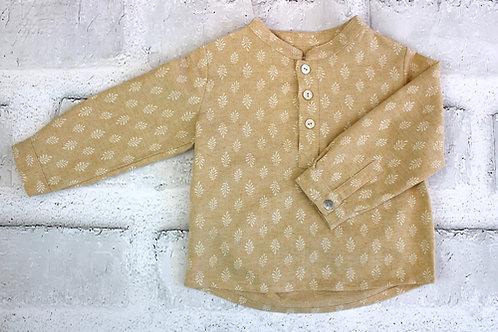 Camisa niño flor mostaza