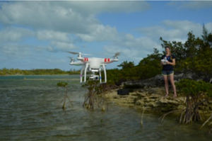 Enie flying her drone to conduct shark research