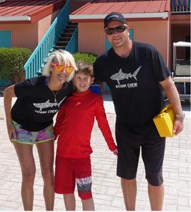 Christopher with Sharks4Kids founders Jillian Morris and Duncan Brake