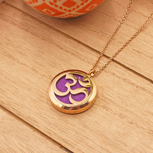 Om Diffuser Necklace (Rose Gold)