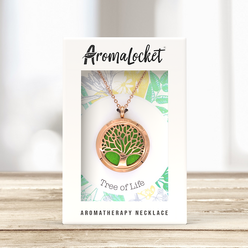 Tree of Life Diffuser Necklace (Rose Gold)