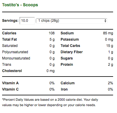 Tostito's Chips Nutrition Facts