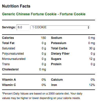 Fortune Cookie Nutrition Facts
