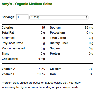 Organic Salsa Nutrition Facts
