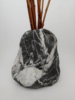 Large Black with White Quartz Vase