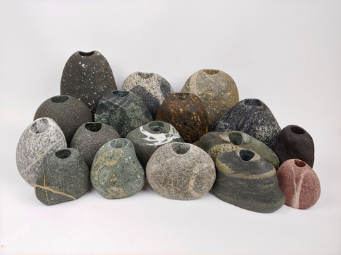 Group of Beach Stone Vases