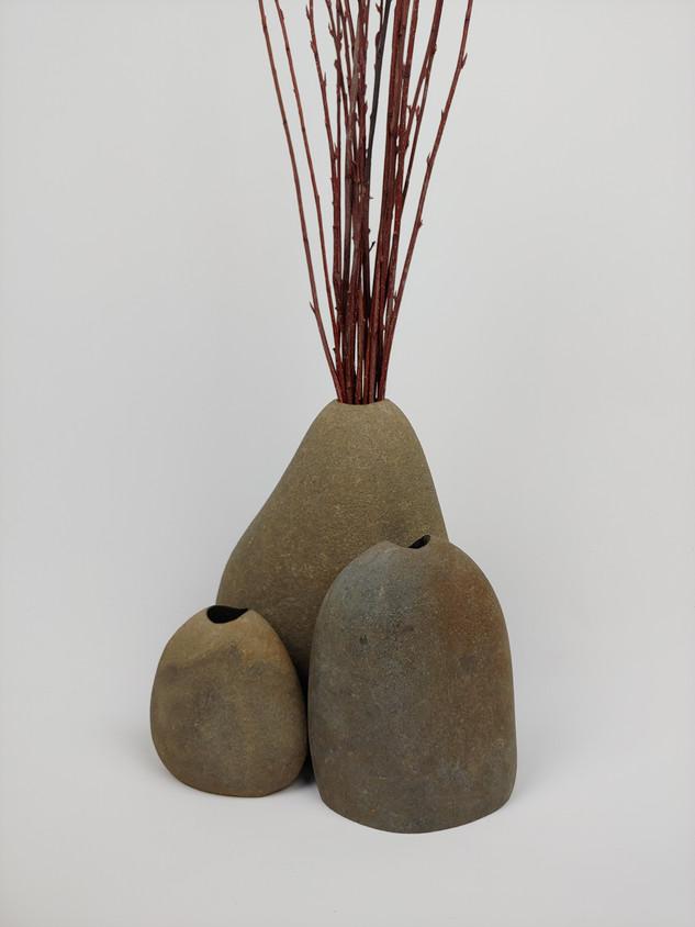 Trio of Oregon Beach Rock Vases