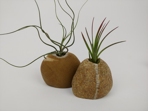 Set of Two Small Beach Stone Vases