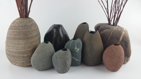 River Stone and Polished Vases