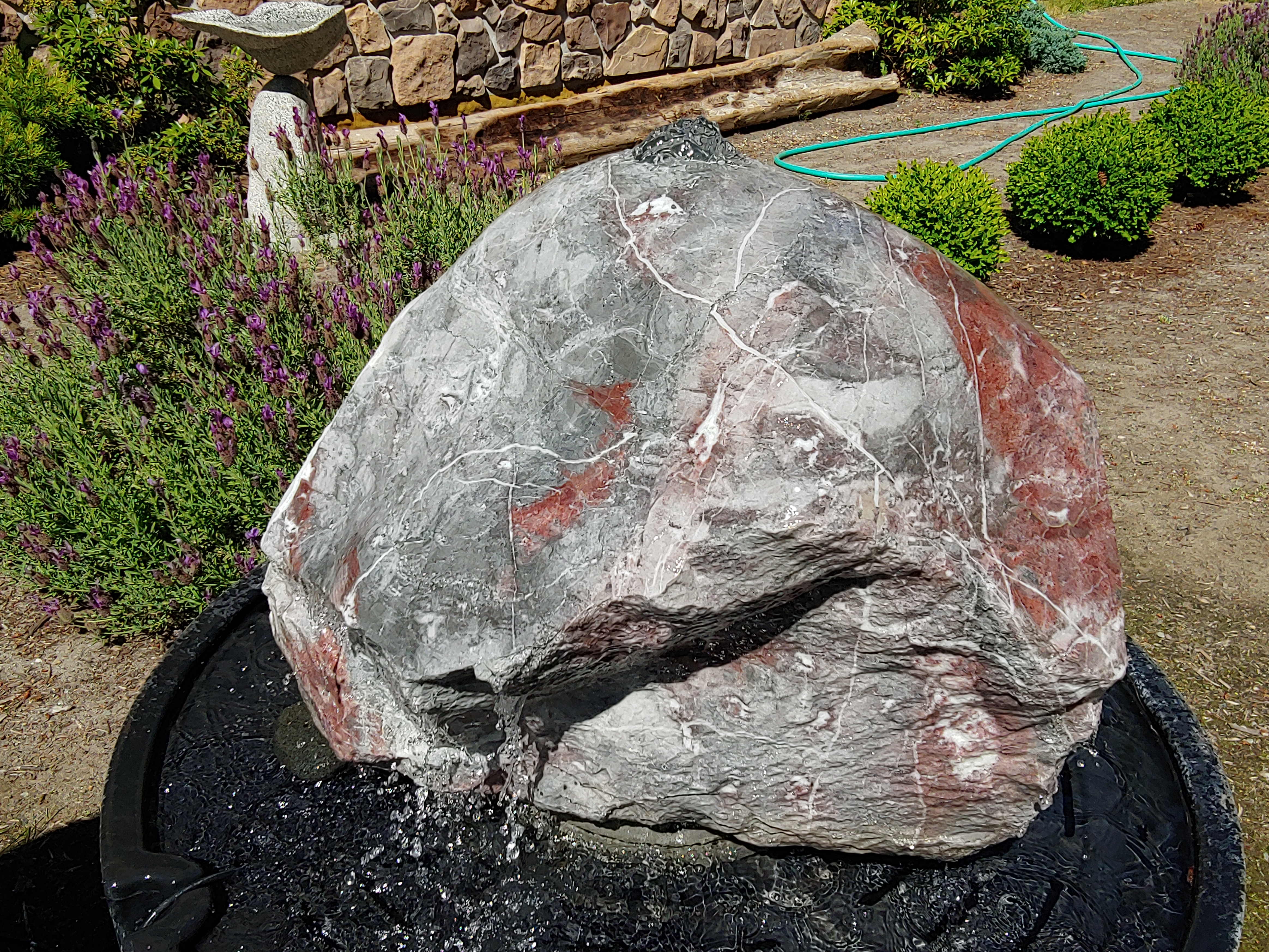 Gray and Red Polished Marble Fountain